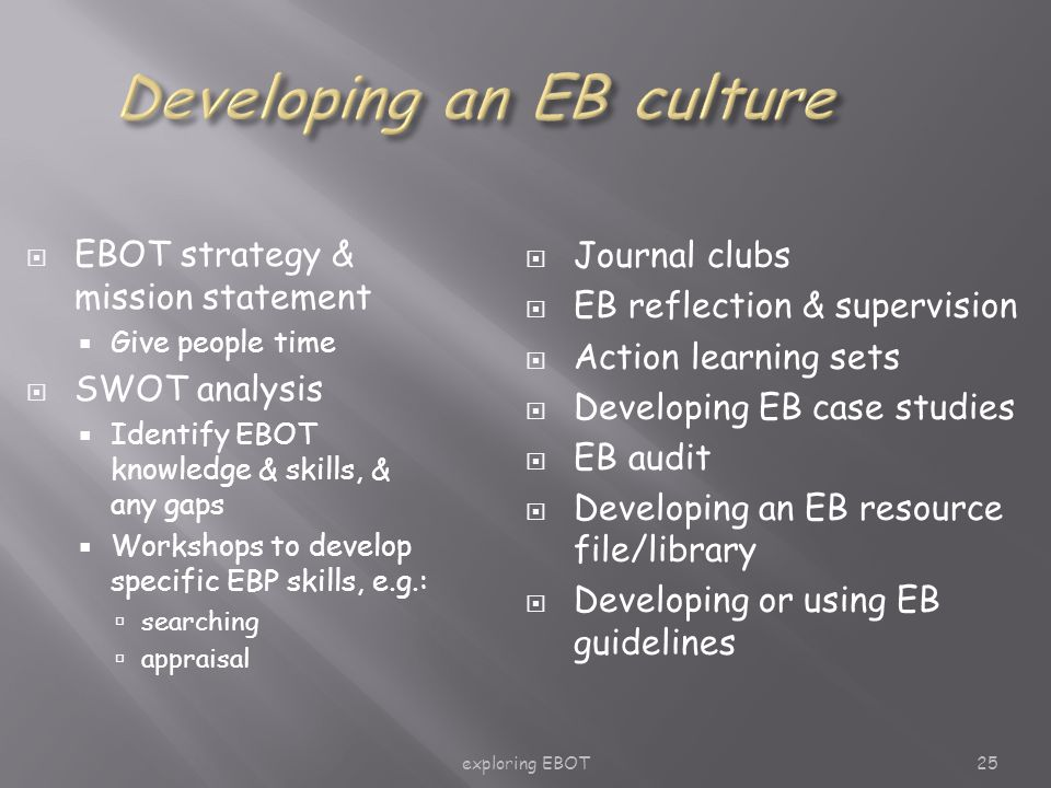 exploring EBOT25  EBOT strategy & mission statement  Give people time  SWOT analysis  Identify EBOT knowledge & skills, & any gaps  Workshops to develop specific EBP skills, e.g.:  searching  appraisal  Journal clubs  EB reflection & supervision  Action learning sets  Developing EB case studies  EB audit  Developing an EB resource file/library  Developing or using EB guidelines
