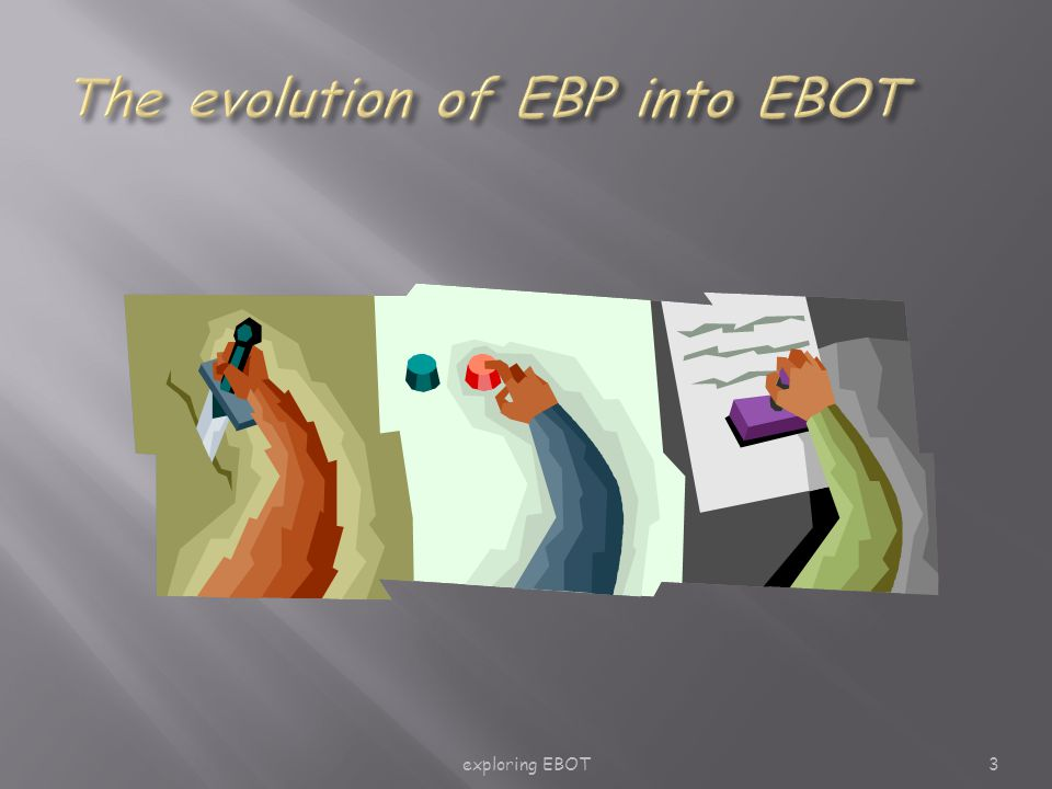 exploring EBOT24 ask -> find -> appraise -> act -> evaluate  Individual  Be a critical consumer of evidence  Group  Start a journal club  Department/organisation  Develop an EB culture informed by Walter et al, 2004