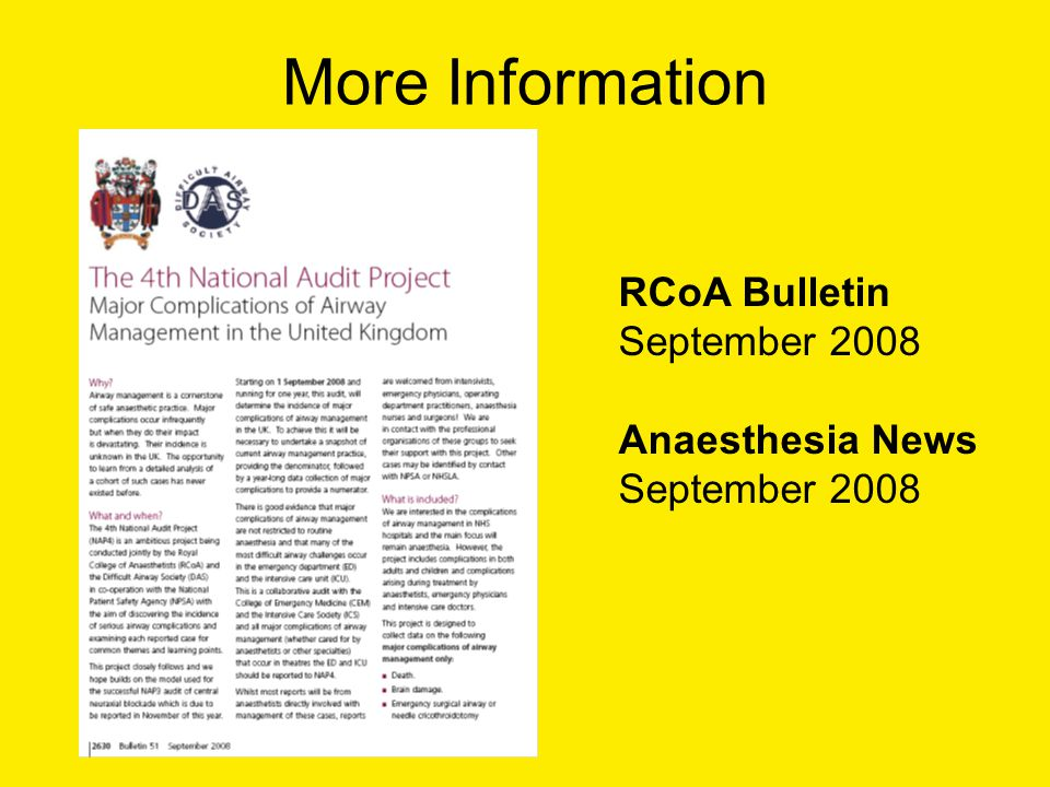 More Information RCoA Bulletin September 2008 Anaesthesia News September 2008