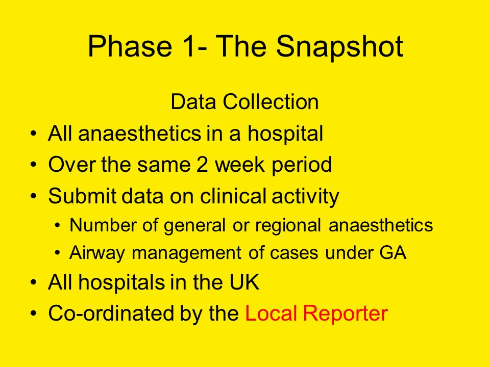 Phase 1- The Snapshot Data Collection All anaesthetics in a hospital Over the same 2 week period Submit data on clinical activity Number of general or regional anaesthetics Airway management of cases under GA All hospitals in the UK Co-ordinated by the Local Reporter