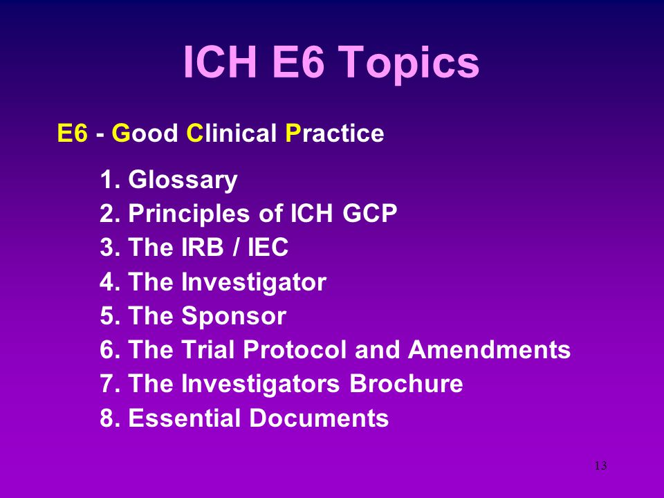 12 International Conference on Harmonization - ICH The Efficacy topics concern the Clinical Investigator. They are: ICH - E1 - Exposure of the agent t