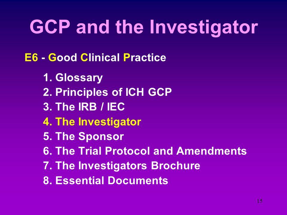 14 ICH E6 Topics E7 - Special Populations e.g. Geriatrics E8 - Clinical Trial Design general considerations E9 - Statistical Principles of Clinical Tr
