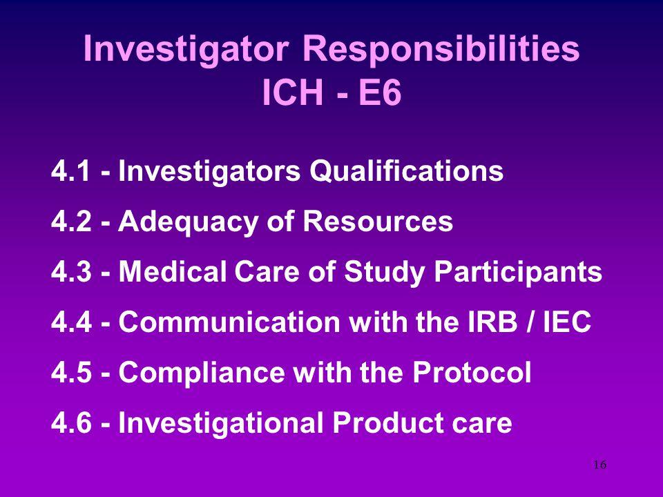 15 GCP and the Investigator E6 - Good Clinical Practice 1.