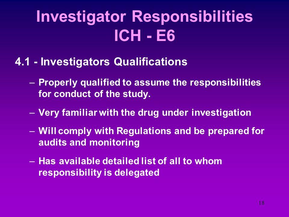 17 Investigator Responsibilities ICH - E6 4.7 - Randomization & unblinding proced.