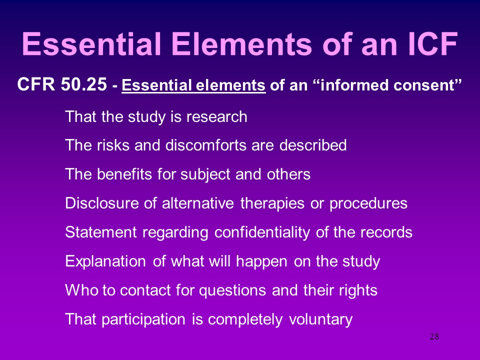 """27 Informed Consent """"Process""""  Assure the sponsor that the IRB is functioning in compliance with 21 CFR 56  Seek consent only under circumstances th"""