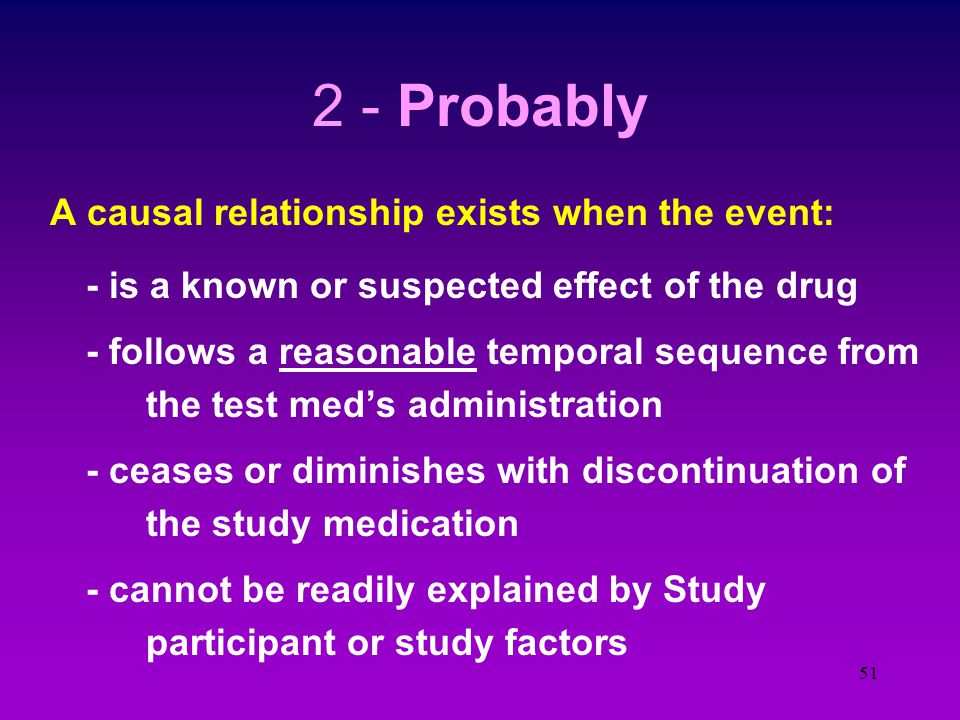 50 1 - Likely / almost certainly a causal relationship exists when the event: - is a well known effect of the drug (PDR, IB) - follows a clear temporal sequence from the drugs administration - ceases with discontinuation of the test agent (and reoccurs on restarting) - is not related to study / environment