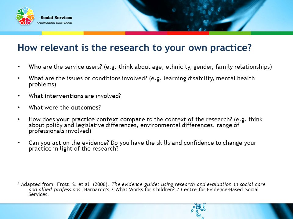 How relevant is the research to your own practice.