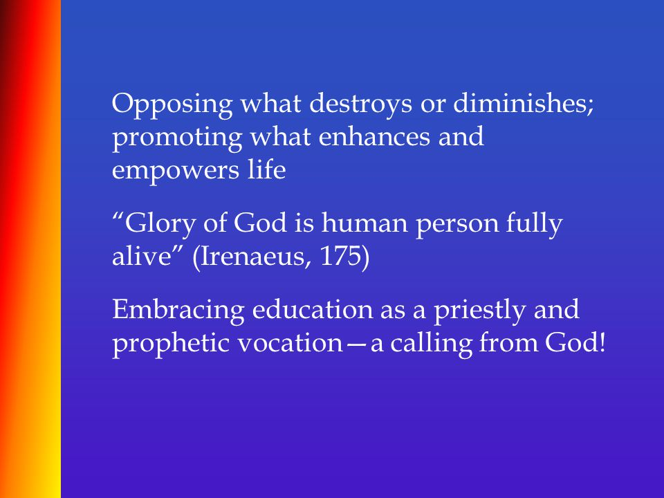 """Opposing what destroys or diminishes; promoting what enhances and empowers life """"Glory of God is human person fully alive"""" (Irenaeus, 175) Embracing e"""