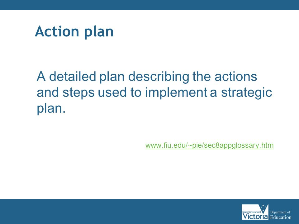 Action plan A detailed plan describing the actions and steps used to implement a strategic plan.