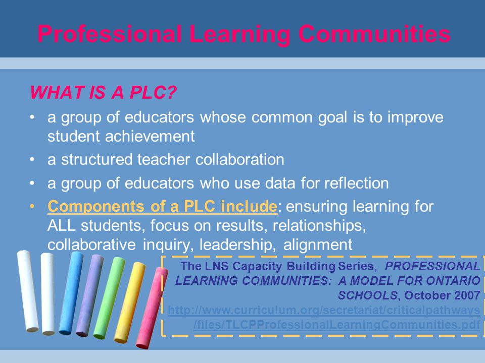 Professional Learning Communities WHAT IS A PLC.