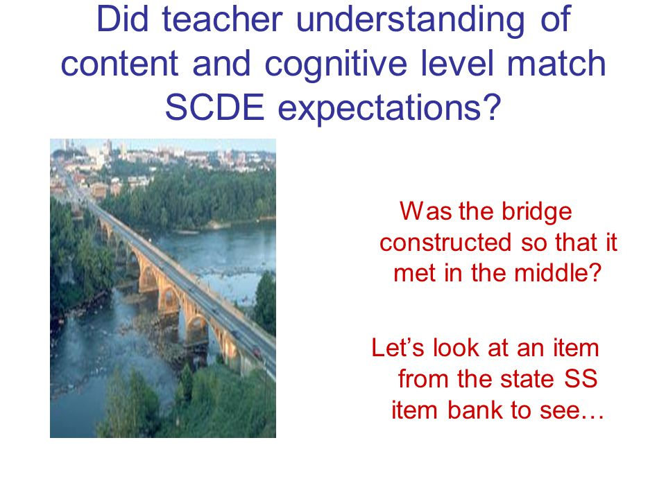 Did teacher understanding of content and cognitive level match SCDE expectations.