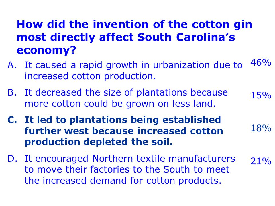 A.It caused a rapid growth in urbanization due to increased cotton production.