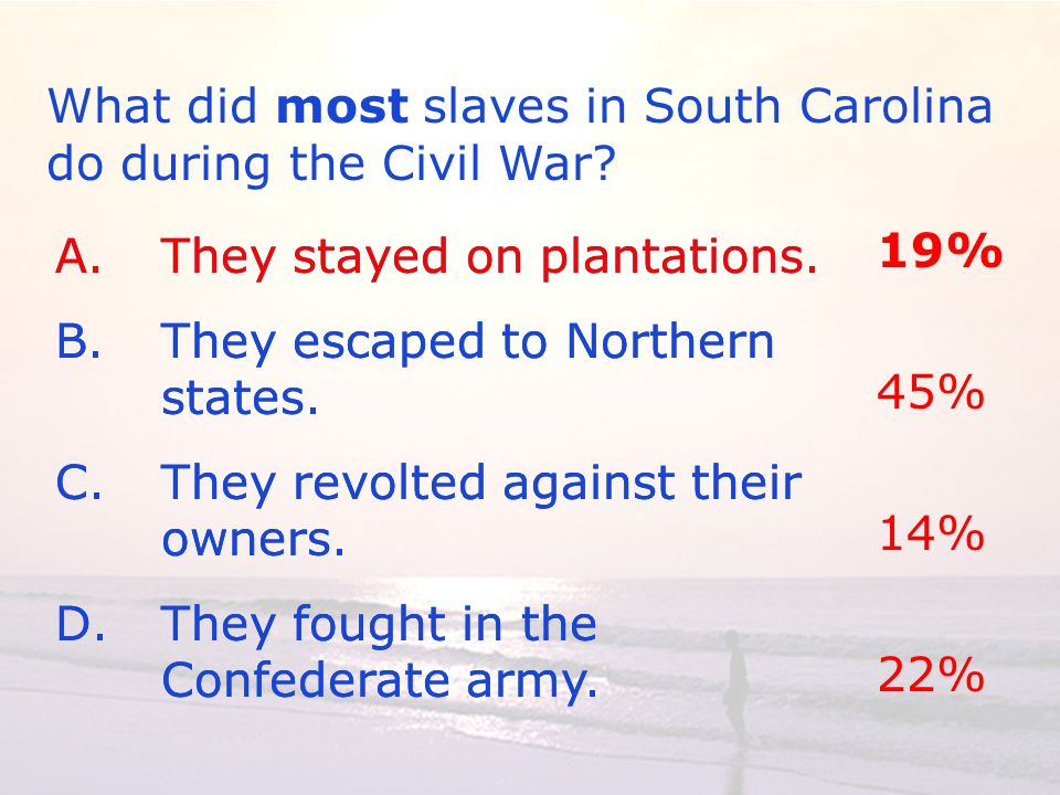 A.They stayed on plantations. B.They escaped to Northern states.