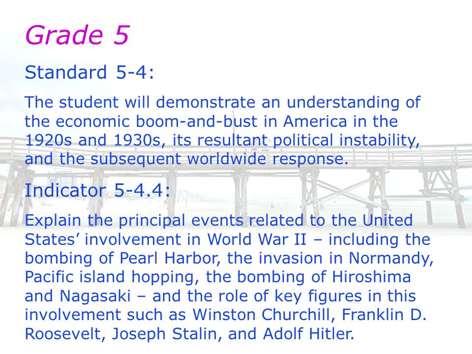 Grade 5 Standard 5-4: The student will demonstrate an understanding of the economic boom-and-bust in America in the 1920s and 1930s, its resultant political instability, and the subsequent worldwide response.