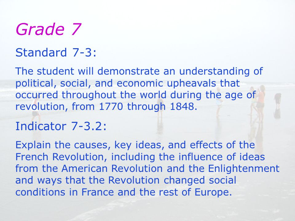 Grade 7 Standard 7-3: The student will demonstrate an understanding of political, social, and economic upheavals that occurred throughout the world during the age of revolution, from 1770 through 1848.