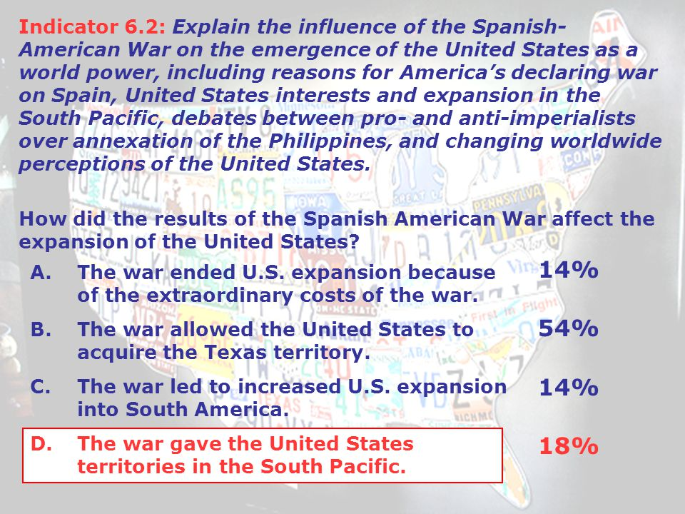 A.The war ended U.S. expansion because of the extraordinary costs of the war.