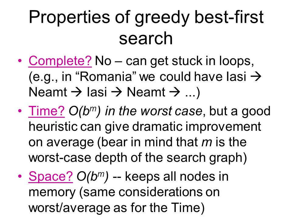 Properties of greedy best-first search Complete.