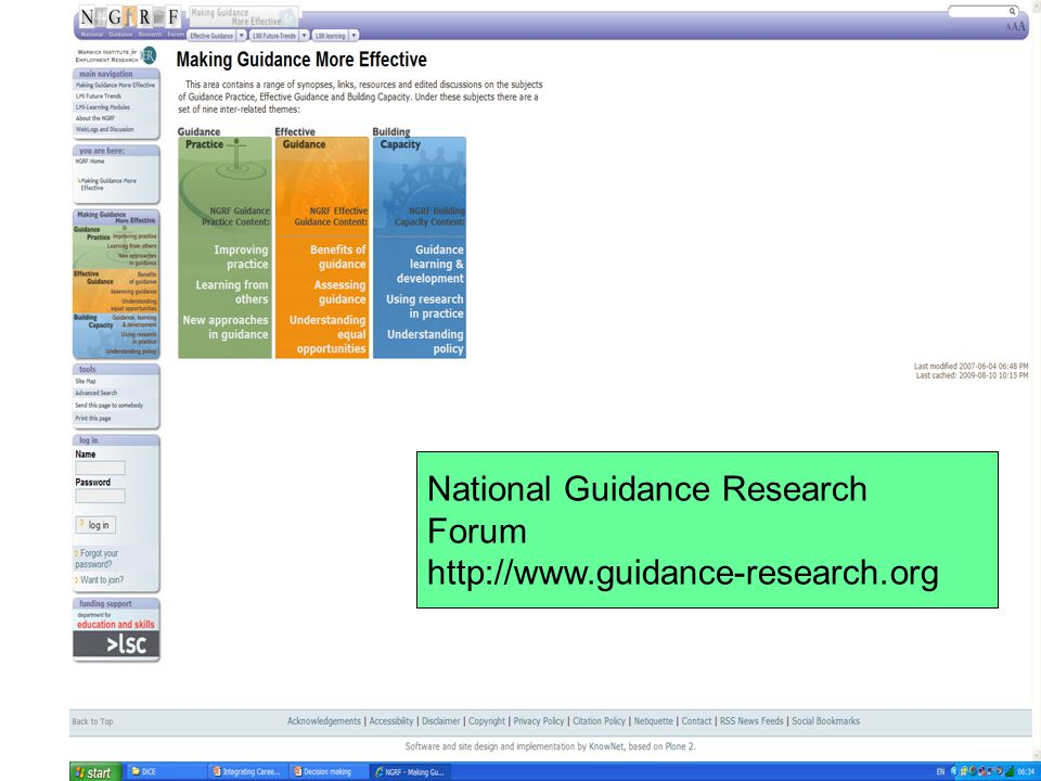 National Guidance Research Forum http://www.guidance-research.org