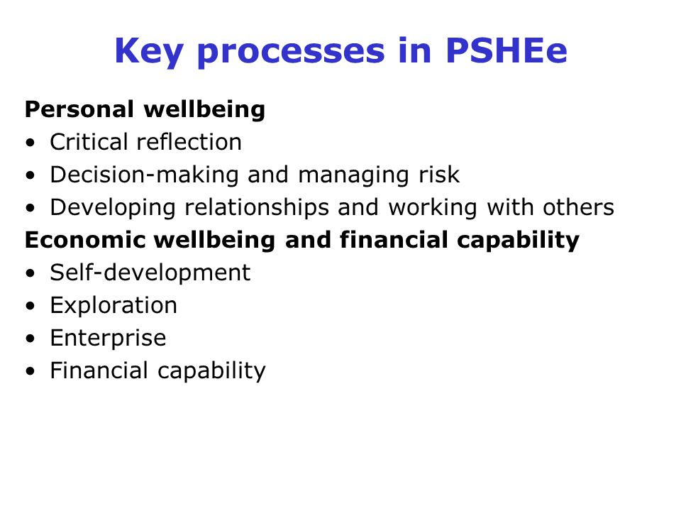 Key processes in PSHEe Personal wellbeing Critical reflection Decision-making and managing risk Developing relationships and working with others Econo