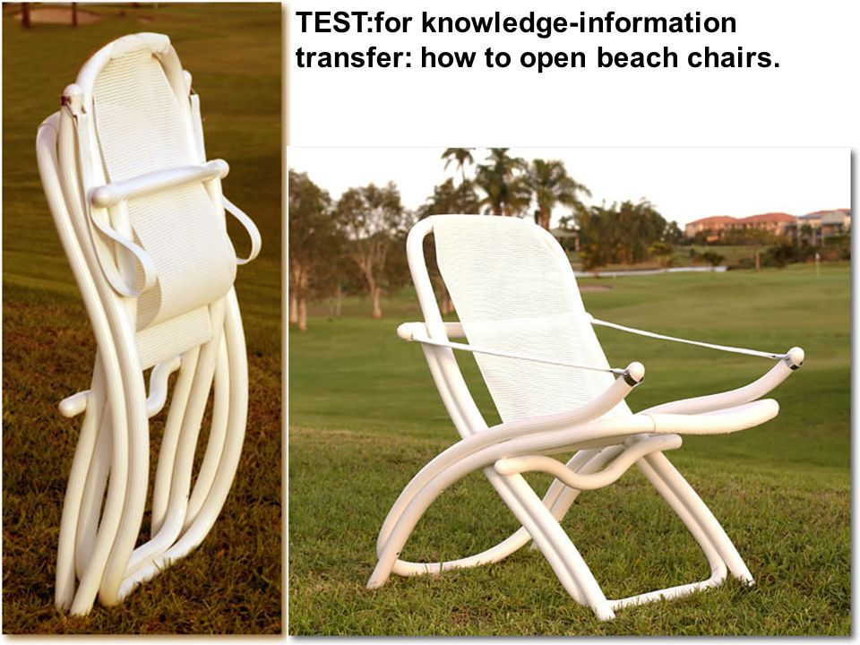 TEST:for knowledge-information transfer: how to open beach chairs.