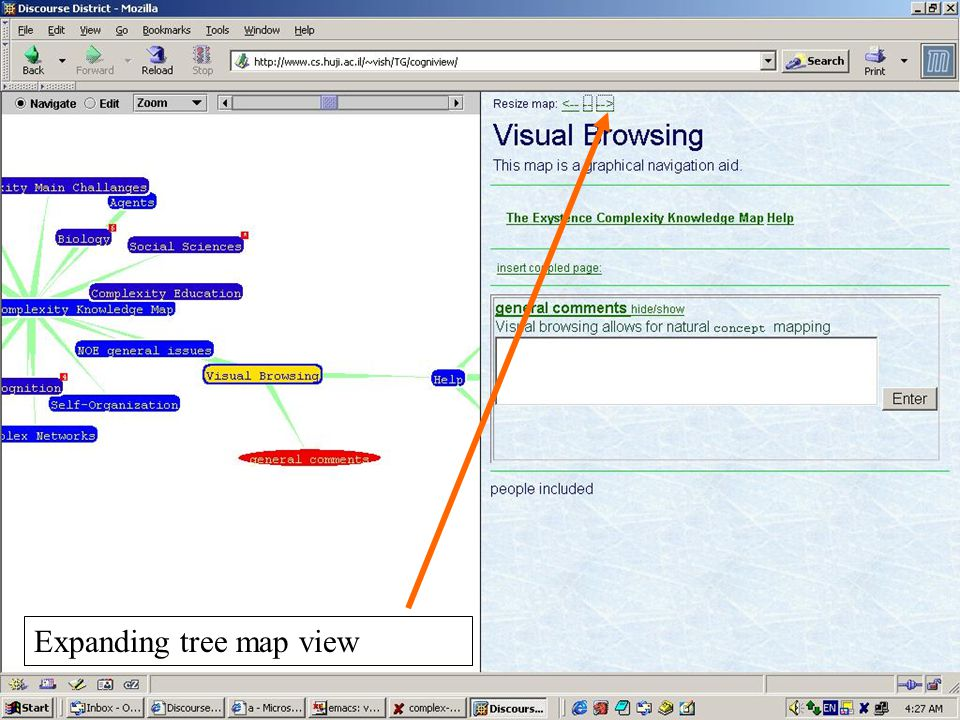 Expanding tree map view