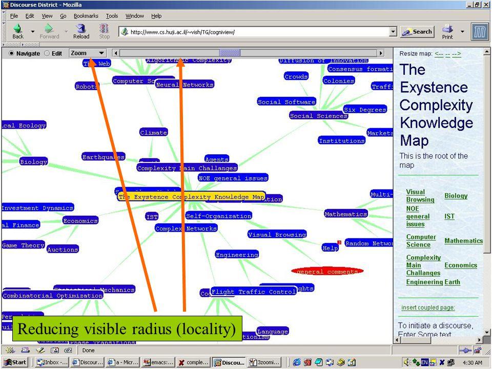 Reducing visible radius (locality)