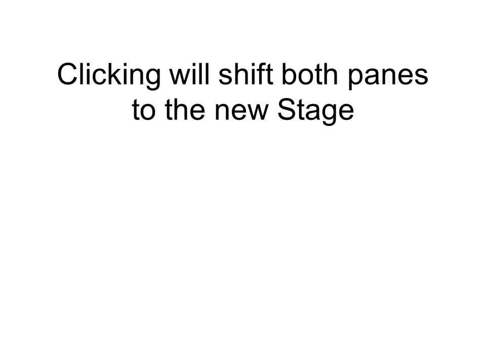Clicking will shift both panes to the new Stage
