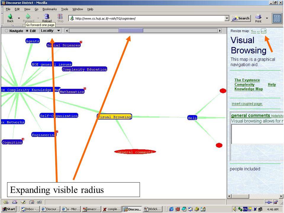 Expanding visible radius