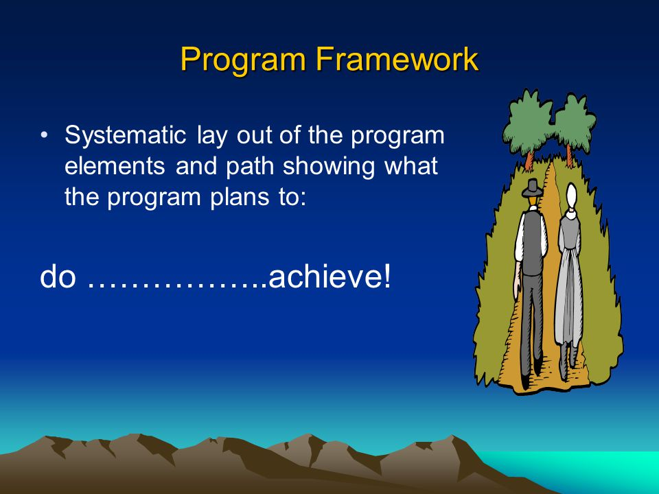 Program Framework Systematic lay out of the program elements and path showing what the program plans to: do ……………..achieve!