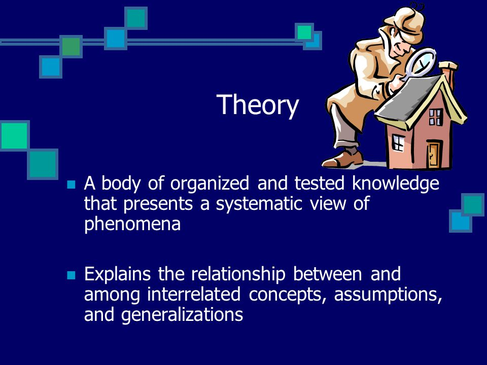 Theory A body of organized and tested knowledge that presents a systematic view of phenomena Explains the relationship between and among interrelated concepts, assumptions, and generalizations