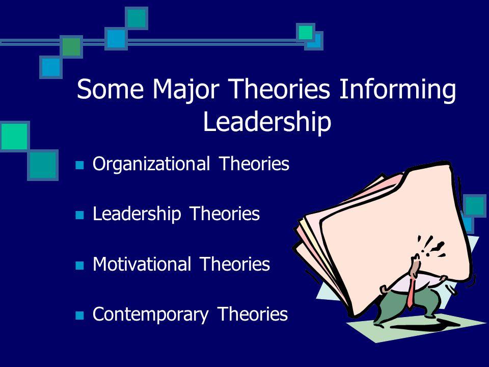 Some Major Theories Informing Leadership Organizational Theories Leadership Theories Motivational Theories Contemporary Theories