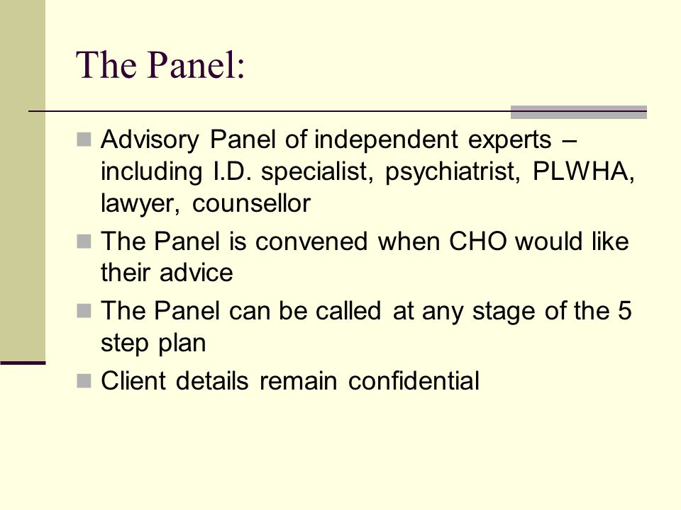 The Panel: Advisory Panel of independent experts – including I.D.