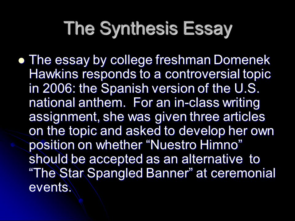 good introduction synthesis essay An introduction of the titles and authors of your sources (following specific citation guidelines) how to write a synthesis essay 123helpmecom 03.