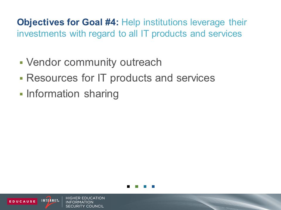 Objectives for Goal #4: Help institutions leverage their investments with regard to all IT products and services  Vendor community outreach  Resources for IT products and services  Information sharing