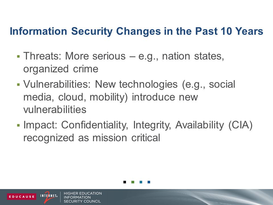 Information Security Changes in the Past 10 Years  Threats: More serious – e.g., nation states, organized crime  Vulnerabilities: New technologies (e.g., social media, cloud, mobility) introduce new vulnerabilities  Impact: Confidentiality, Integrity, Availability (CIA) recognized as mission critical