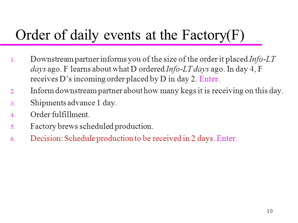 10 Order of daily events at the Factory(F) 1. Downstream partner informs you of the size of the order it placed Info-LT days ago. F learns about what