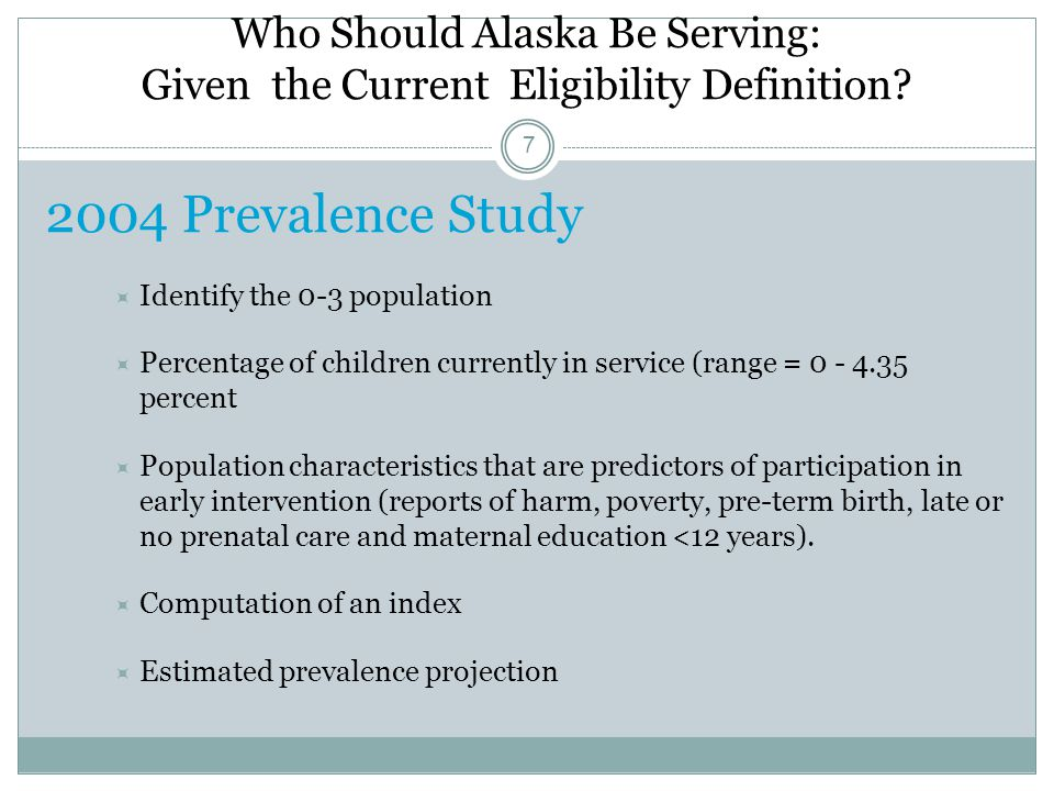 Who Should Alaska Be Serving: Given the Current Eligibility Definition.