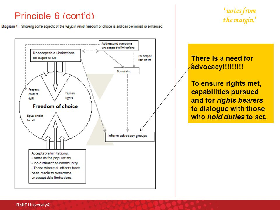 Principle 6 (cont'd) RMIT University© ' notes from the margin.' There is a need for advocacy!!!!!!!!! To ensure rights met, capabilities pursued and f