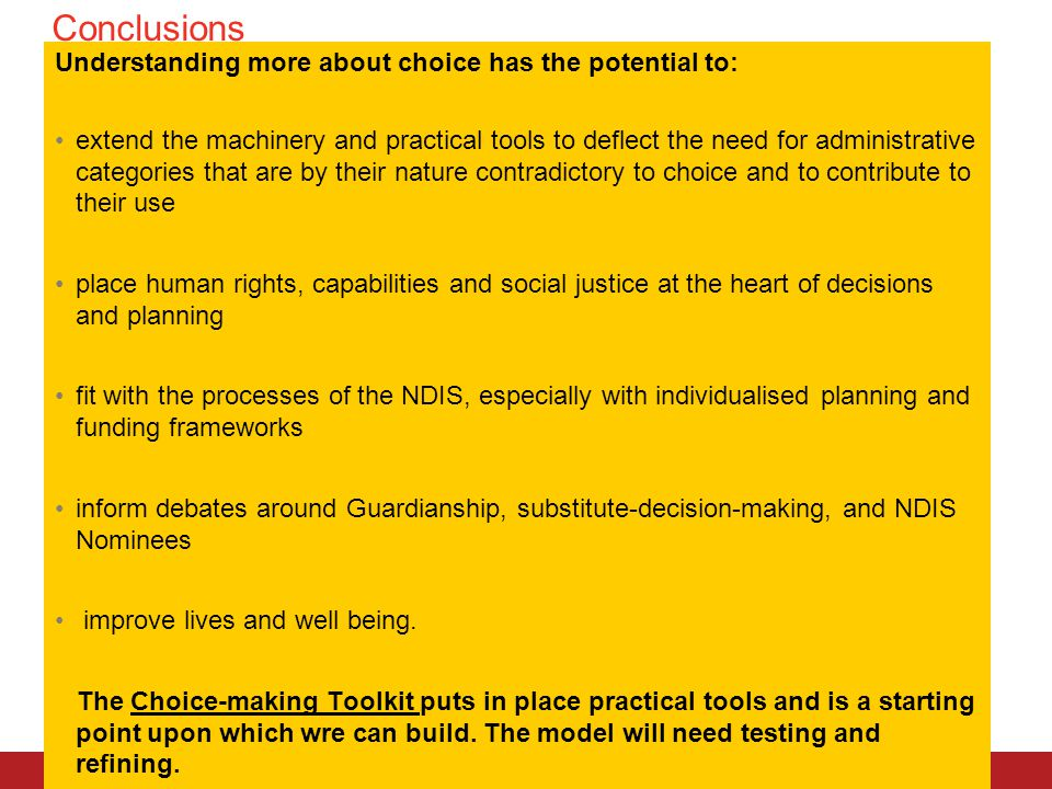 Conclusions RMIT University© Understanding more about choice has the potential to: extend the machinery and practical tools to deflect the need for ad