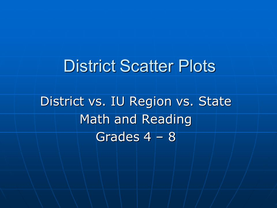 District Scatter Plots District vs. IU Region vs. State Math and Reading Grades 4 – 8