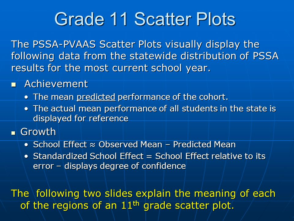 Grade 11 Scatter Plots The PSSA-PVAAS Scatter Plots visually display the following data from the statewide distribution of PSSA results for the most current school year.