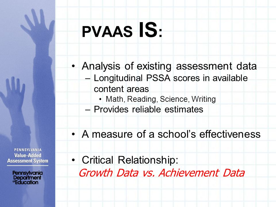PVAAS IS : Analysis of existing assessment data –Longitudinal PSSA scores in available content areas Math, Reading, Science, Writing –Provides reliabl