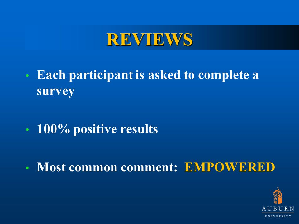 REVIEWS Each participant is asked to complete a survey 100% positive results Most common comment: EMPOWERED