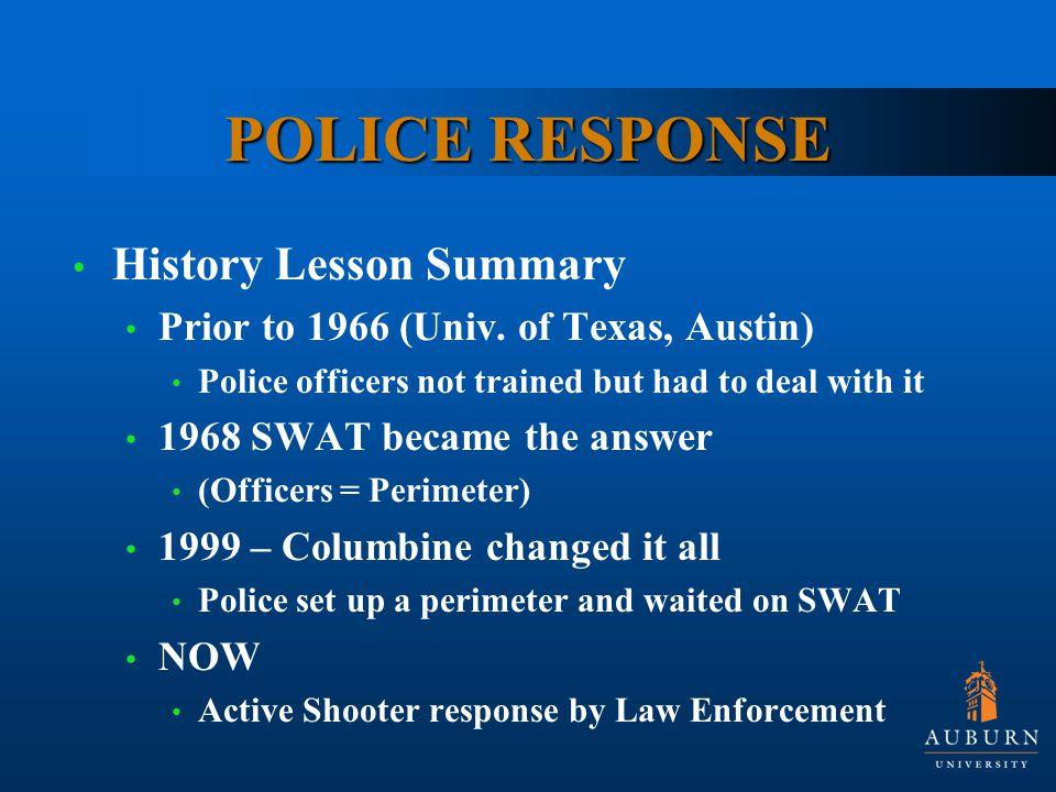 POLICE RESPONSE History Lesson Summary Prior to 1966 (Univ.