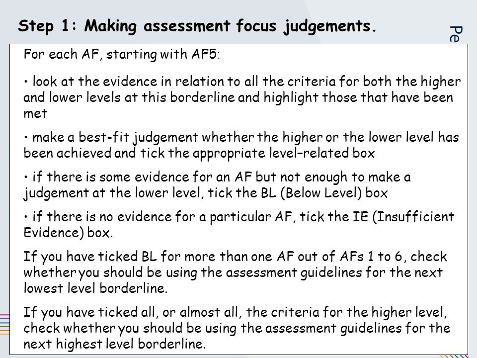 Step 1: Making assessment focus judgements. For each AF, starting with AF5 : look at the evidence in relation to all the criteria for both the higher