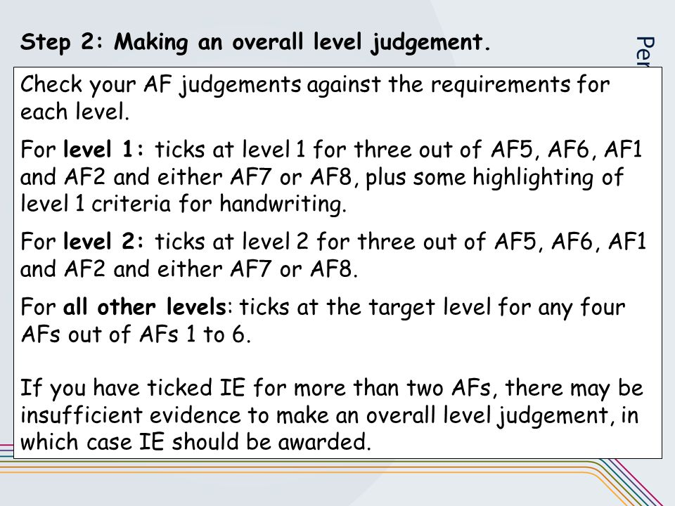 Step 2: Making an overall level judgement. Check your AF judgements against the requirements for each level. For level 1: ticks at level 1 for three o