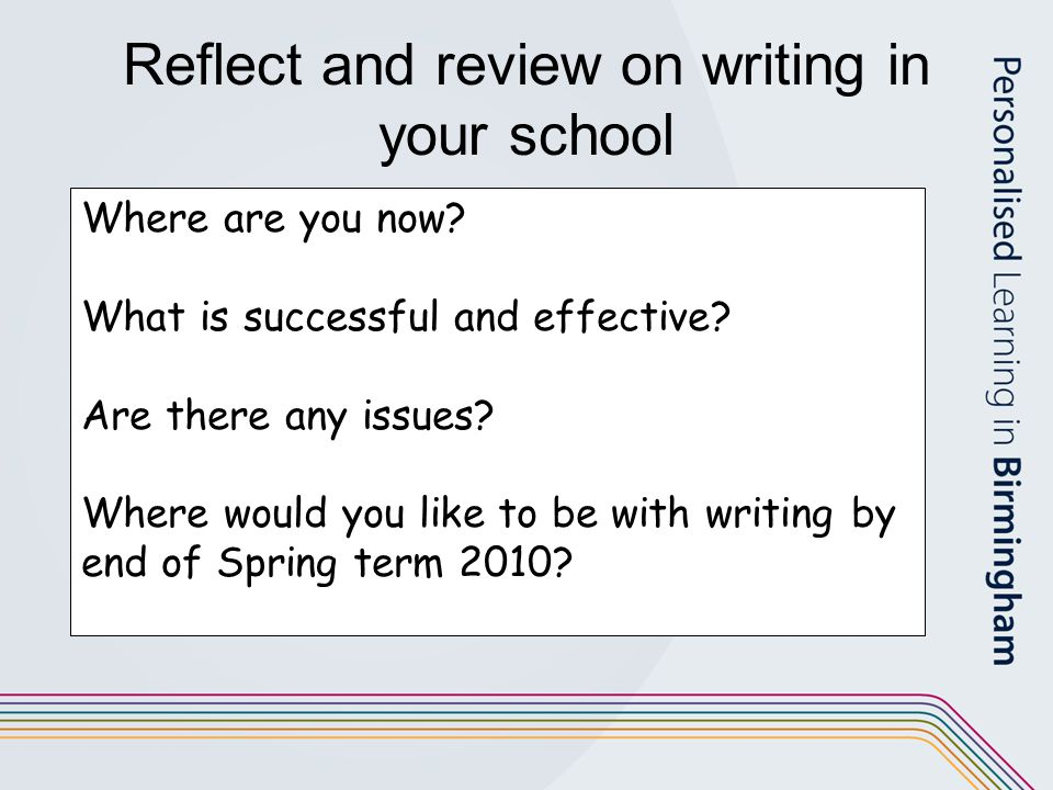 Reflect and review on writing in your school Where are you now? What is successful and effective? Are there any issues? Where would you like to be wit