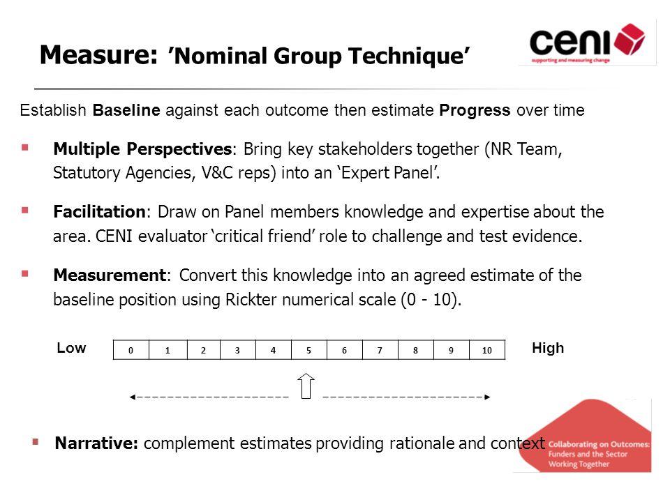 Establish Baseline against each outcome then estimate Progress over time  Multiple Perspectives: Bring key stakeholders together (NR Team, Statutory