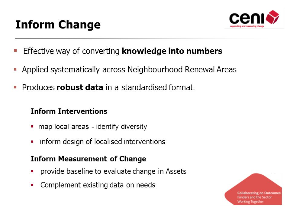  Effective way of converting knowledge into numbers  Applied systematically across Neighbourhood Renewal Areas  Produces robust data in a standardised format.