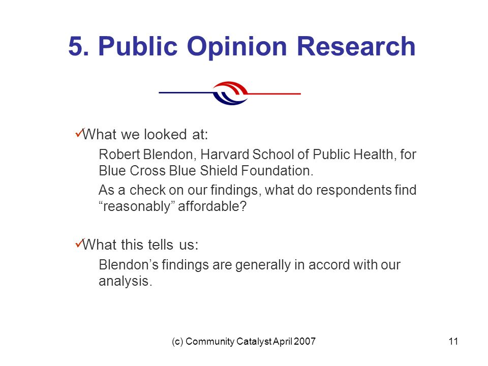 (c) Community Catalyst April 200711 5. Public Opinion Research What we looked at: Robert Blendon, Harvard School of Public Health, for Blue Cross Blue